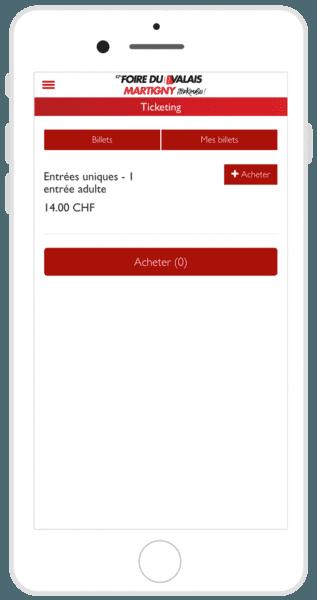 Billetterie FVS Group sur mobile